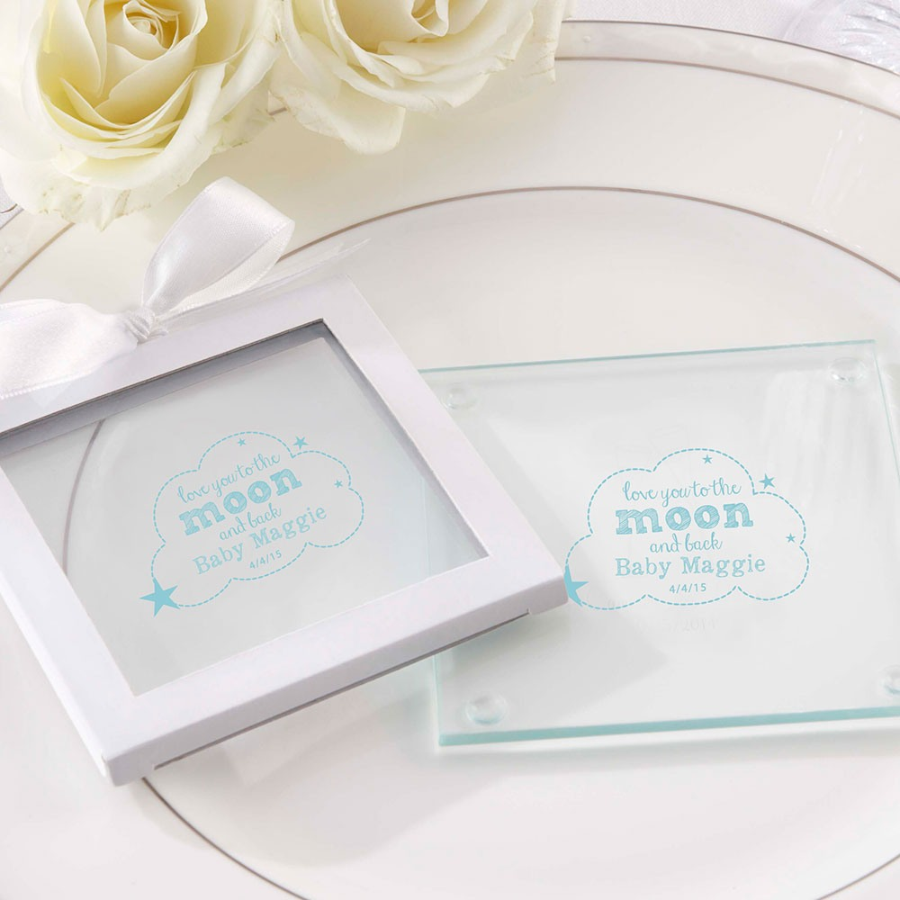 Personalized To the Moon and Back Glass Coasters