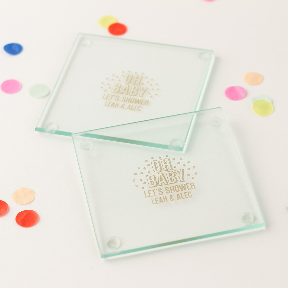 Personalized Oh Baby Glass Coaster