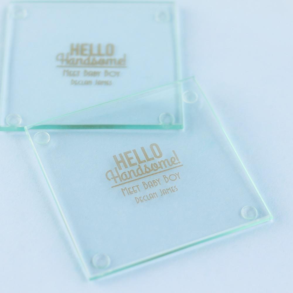 Personalized Hello Handsome Glass Coaster