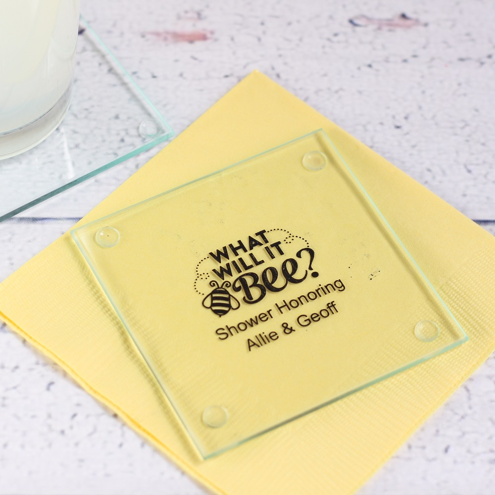 Personalized Bee Reveal Glass Coaster