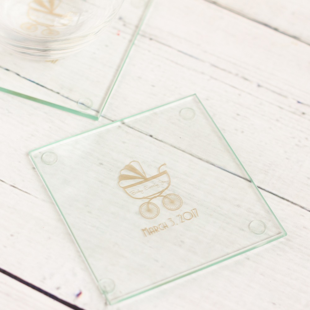 Personalized Carriage Glass Coasters