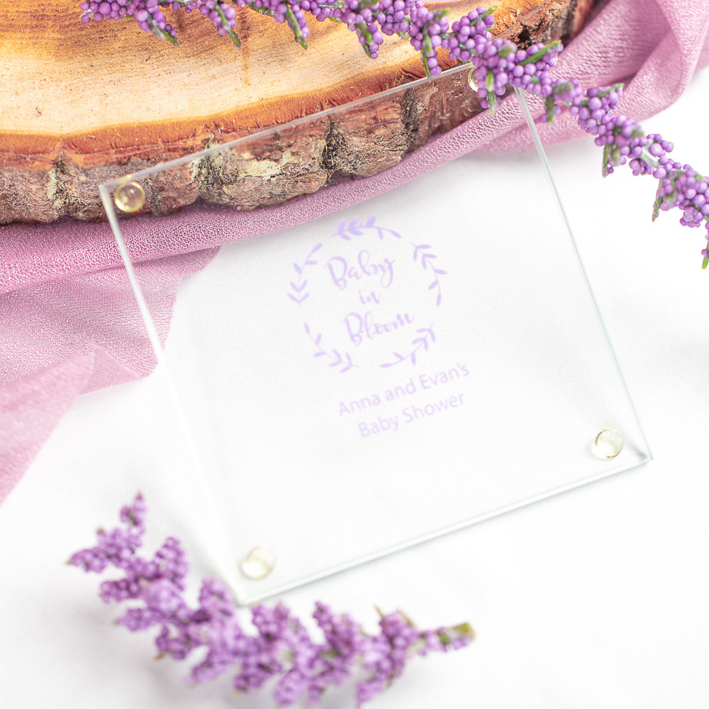 Personalized Baby in Bloom Glass Coasters