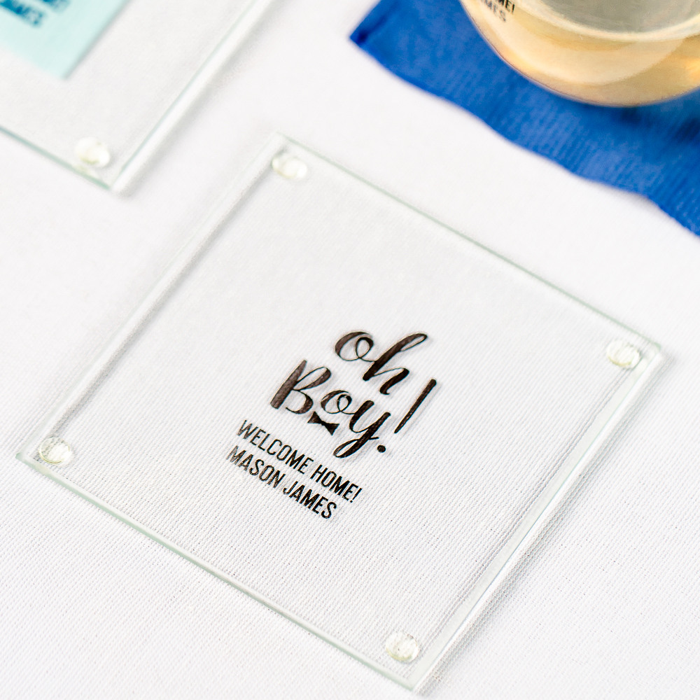 Personalized Oh Boy Glass Coasters