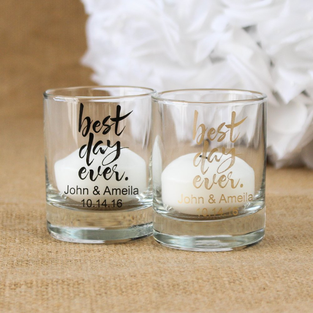 Personalized Best Day Ever Shot Glass Votive Holders