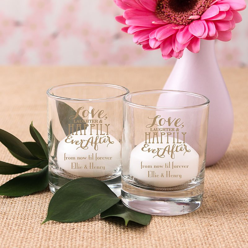 Personalized Love Laughter Shot Glass Votives