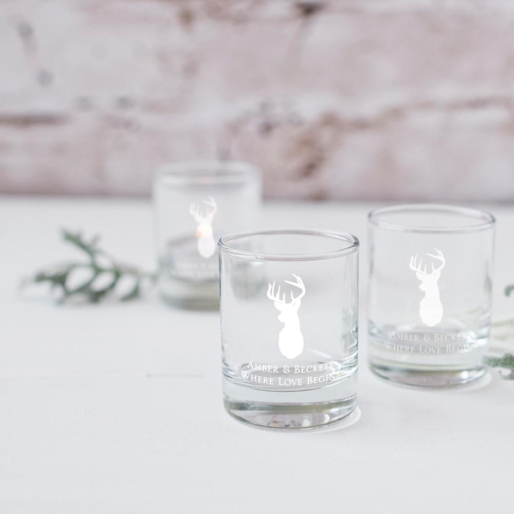 Personalized Woodland Glass Votive Holders