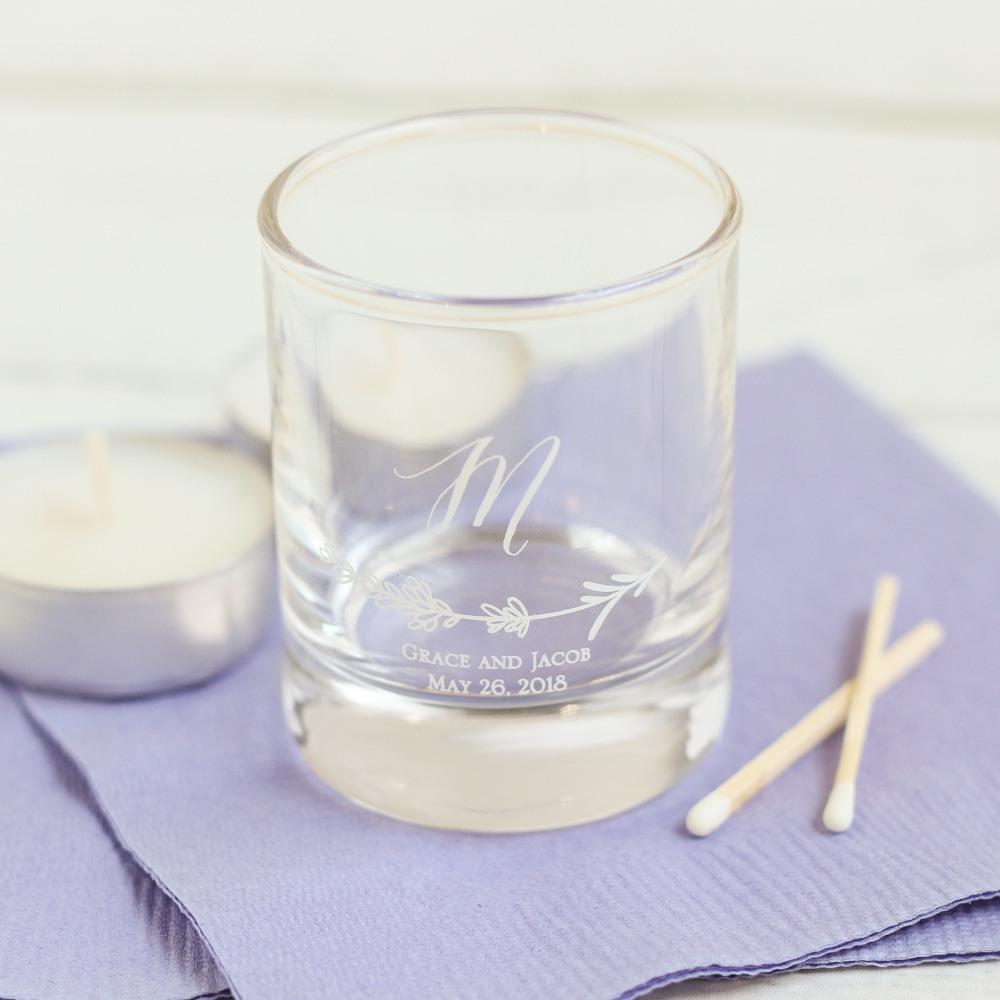 Personalized Lavender Sprig Shot Glass Votive Holder