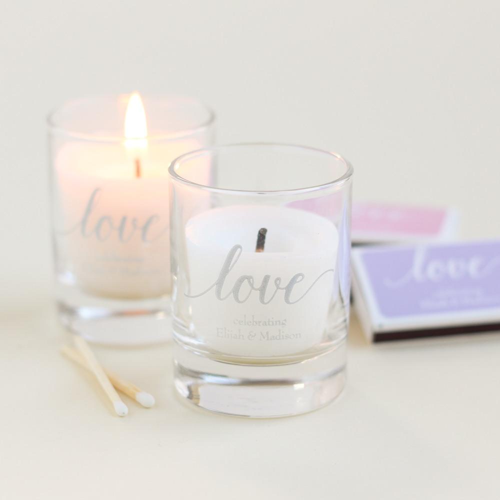 Personalized Love Script Shot Glass Votive Holder