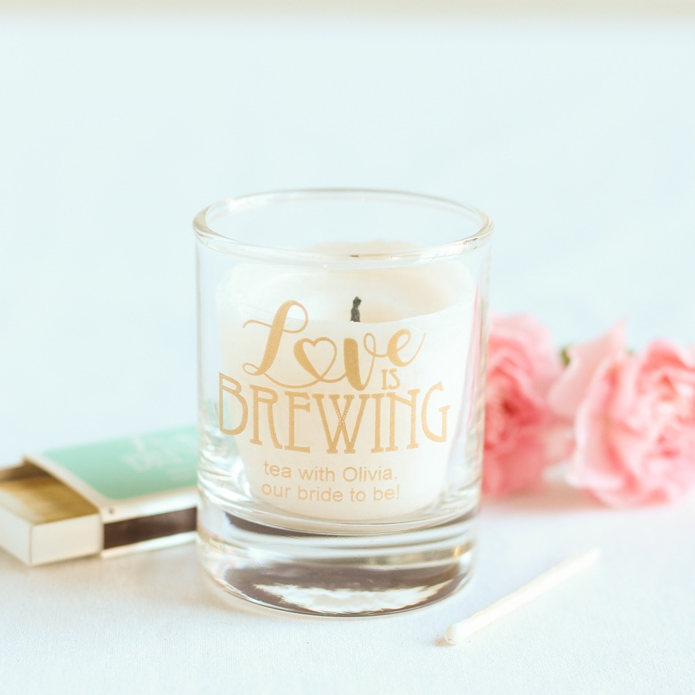 Personalized Love is Brewing Shot Glass Votive Holder