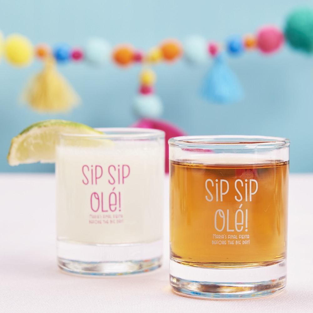 Personalized Sip Sip Ole Shot Glass Votive Holder