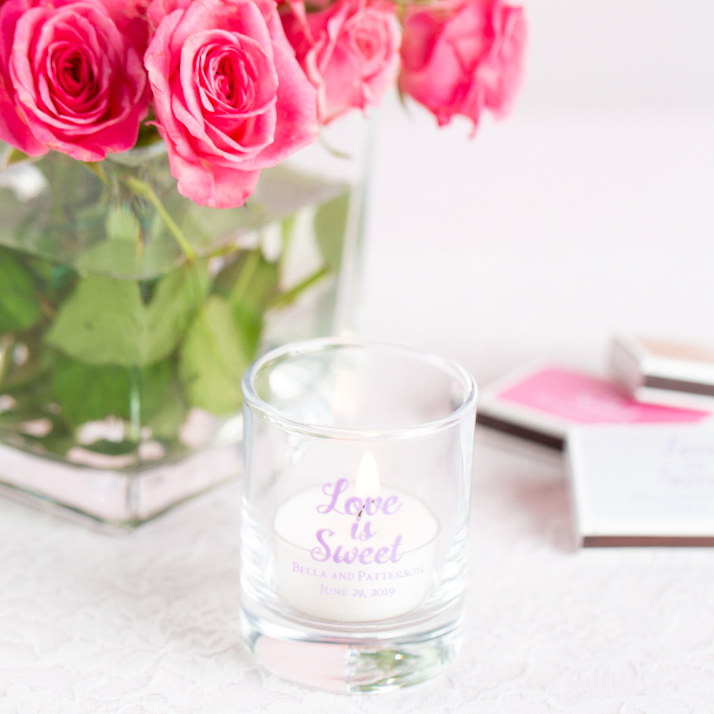 Personalized Love is Sweet Shot Glass Votive Holder