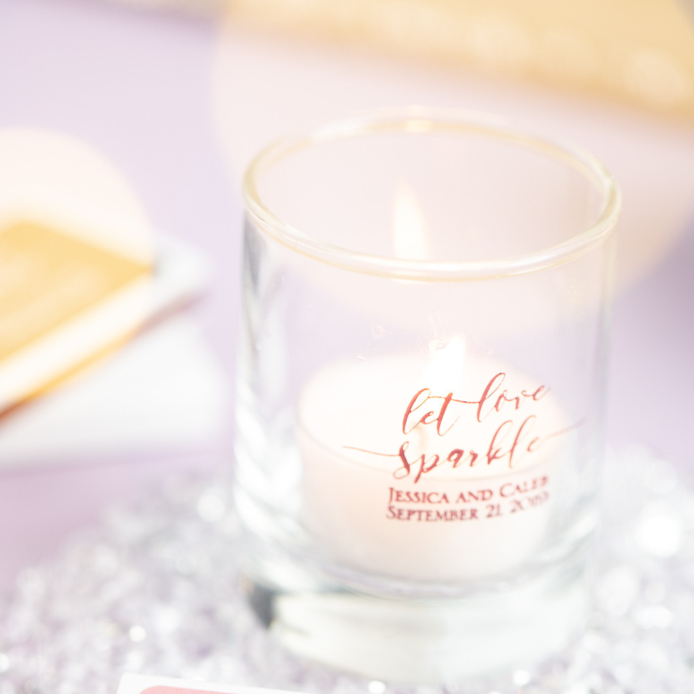 Personalized Let Love Sparkle Shot Glass Votive Holder