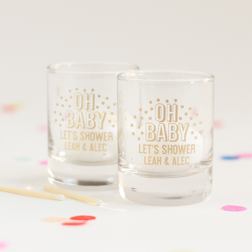 Personalized Oh Baby Glass Votive Holder