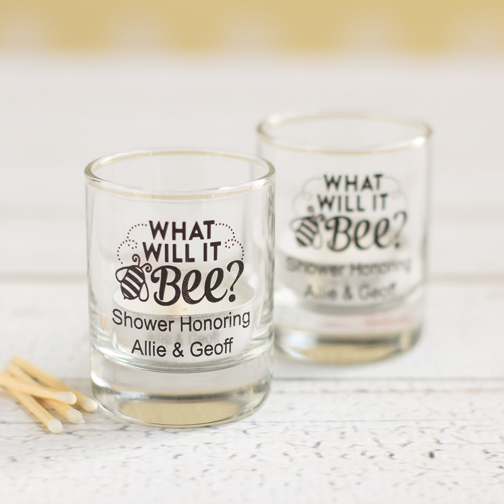 Personalized Bee Reveal Glass Votive Holder