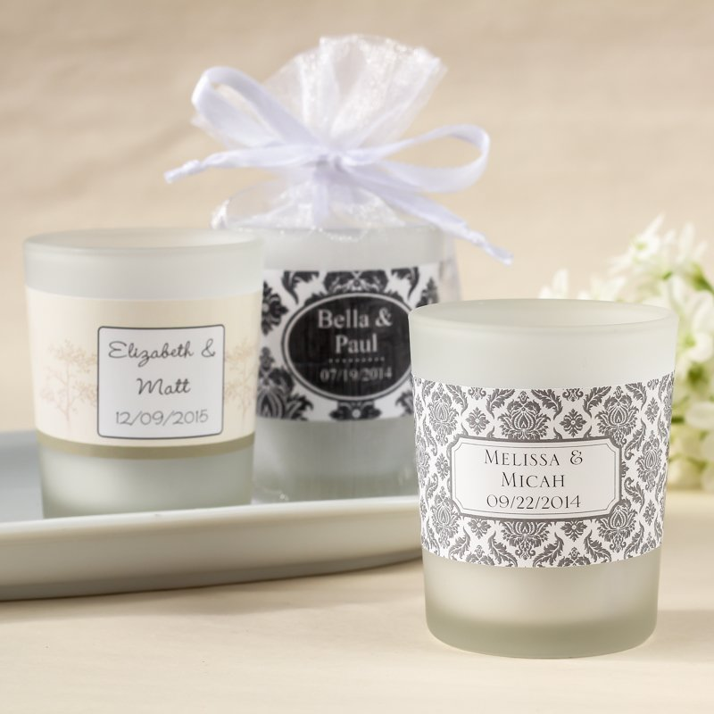 Wedding Gift Candles: Personalized Frosted Glass Votive Wedding Candle Favors