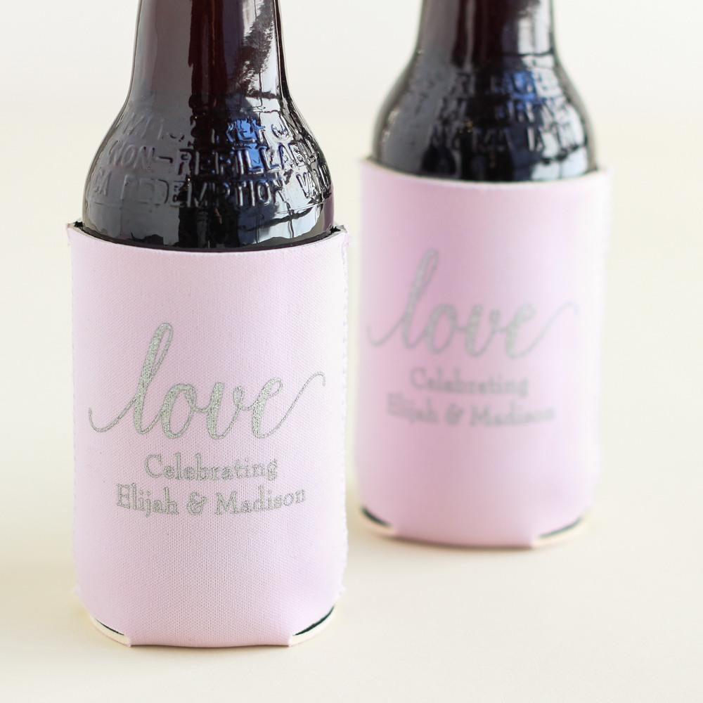 Personalized Love Neoprene Wedding Can Sleeve