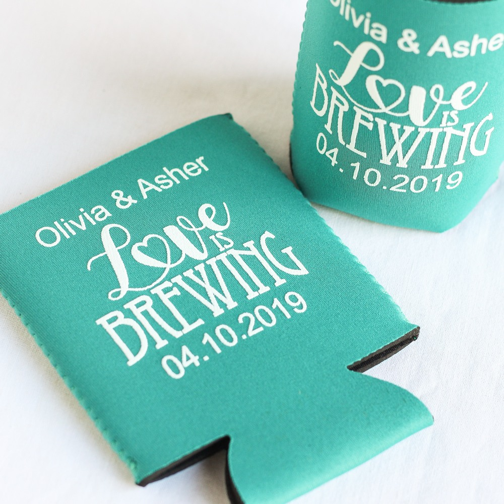 Personalized Love is Brewing Neoprene Wedding Can Sleeve