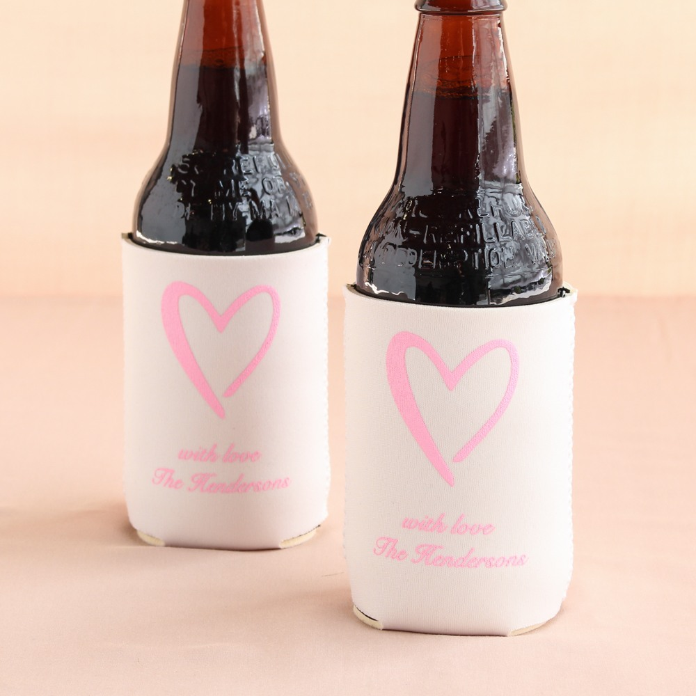 Personalized Heart Wedding Can Sleeves