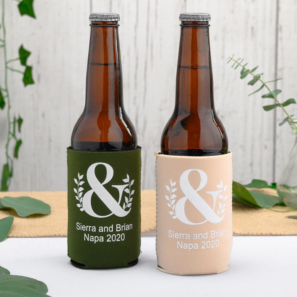 Personalized Eco Ampersand Neoprene Wedding Can Sleeve
