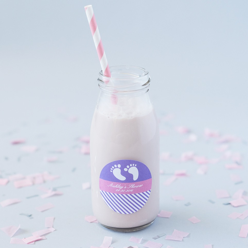 Personalized Baby Shower Milk Jars And Straws 5755