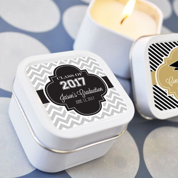 Mini Square Personalized Graduation Candle Favor 5802