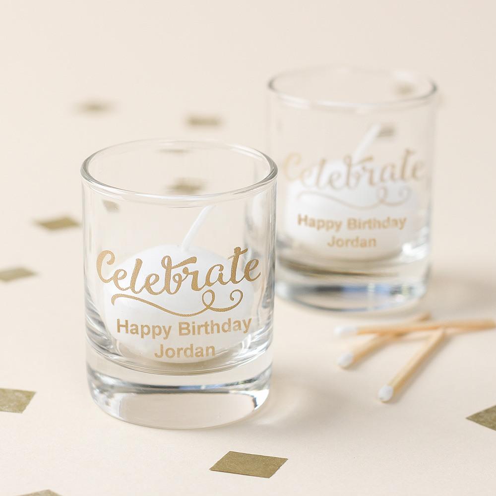 Personalized Birthday Shot Glass Votive Holder 5965