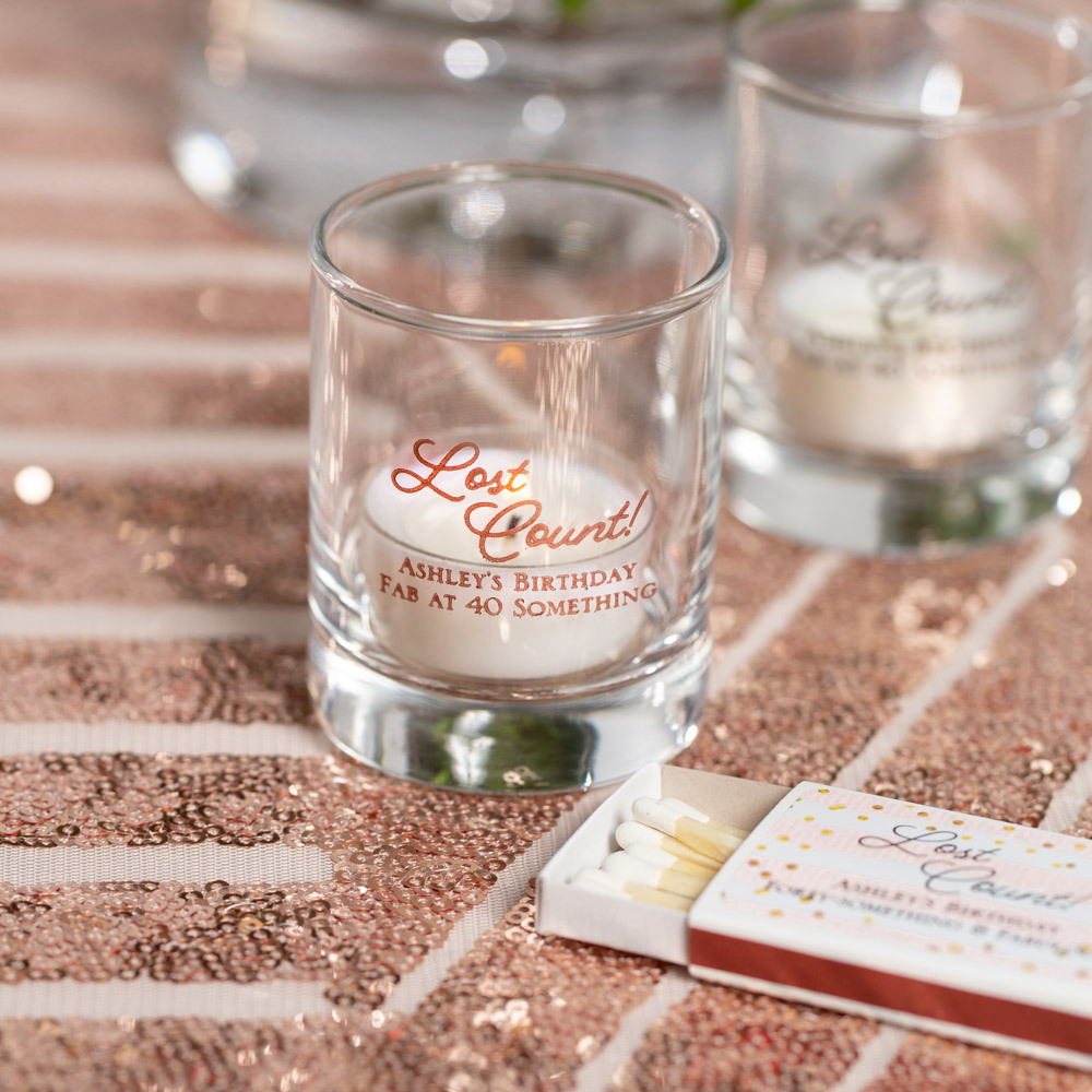 Personalized Lost Count Birthday Shot Glass Votive Holder