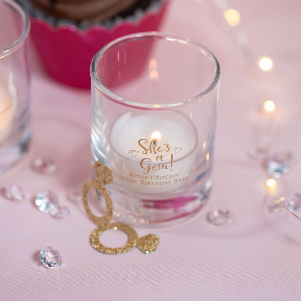 Personalized she's a gem Birthday Shot Glass Votive Holder