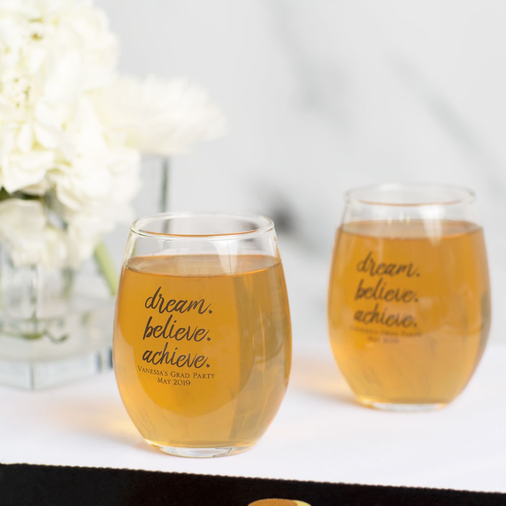Personalized Dream Believe Party Stemless Wine Glass