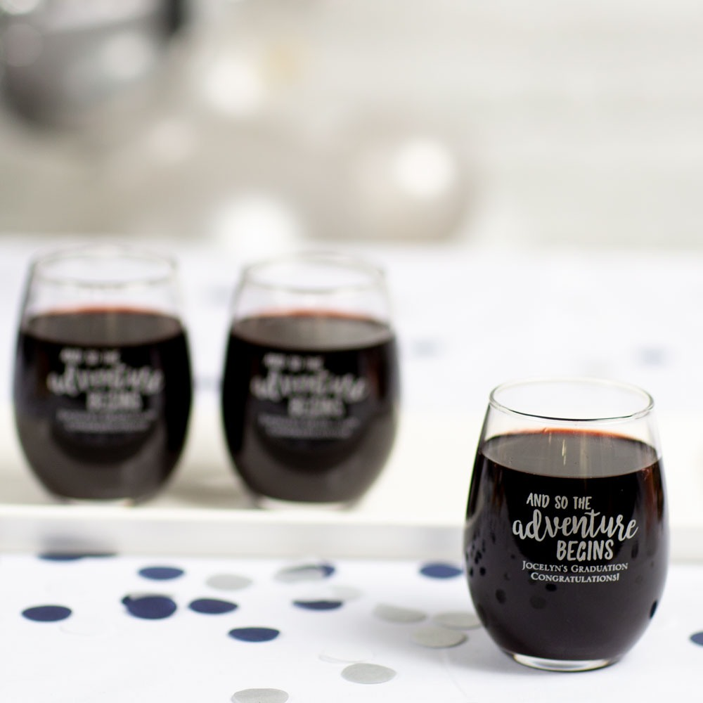 Personalized Grad Adventure Party Stemless Wine Glass