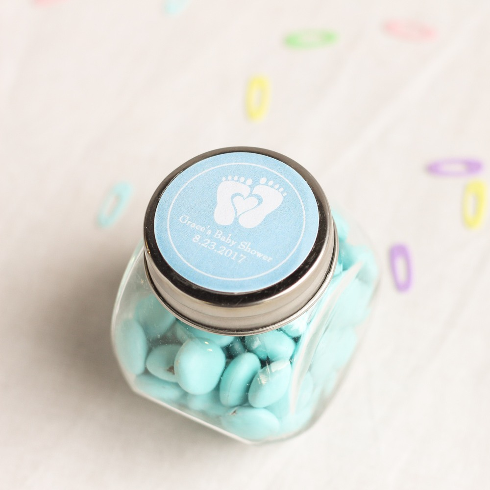 Personalized Baby Feet Shower Themed Candy Jar