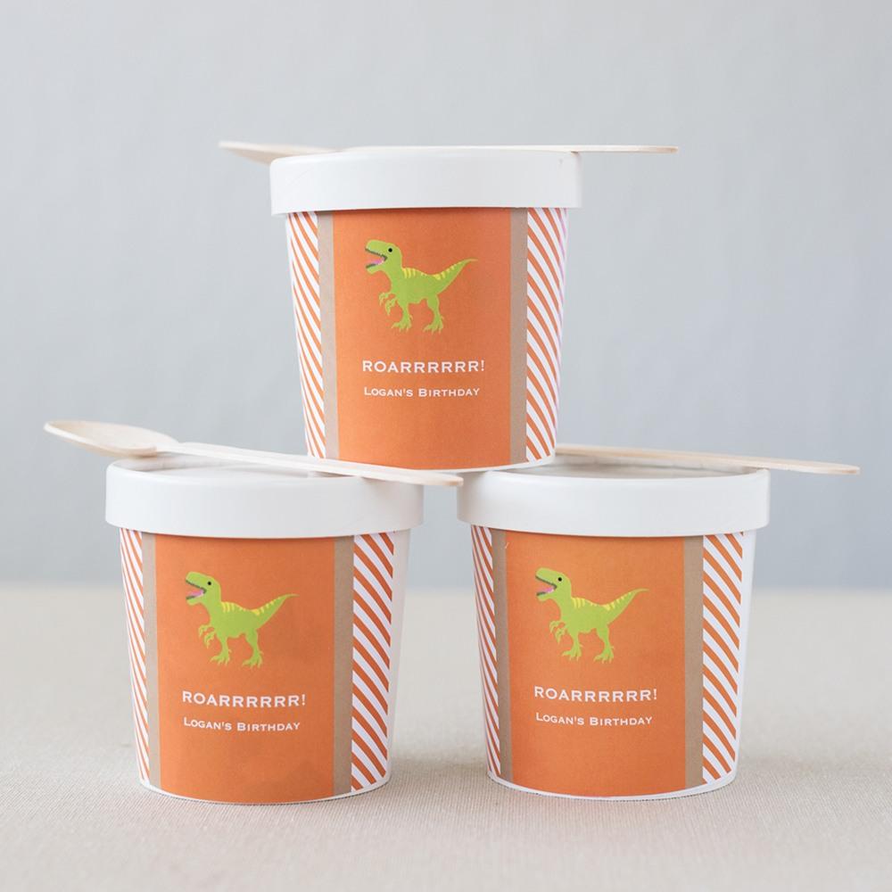 Personalized Dinosaur Birthday Ice Cream Containers