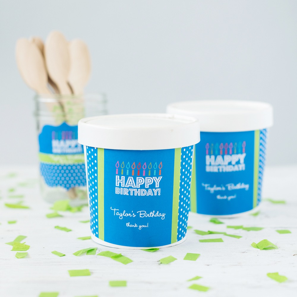 Personalized Birthday Pint Containers