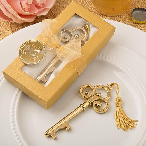 Vintage Key Bottle Opener in Gold