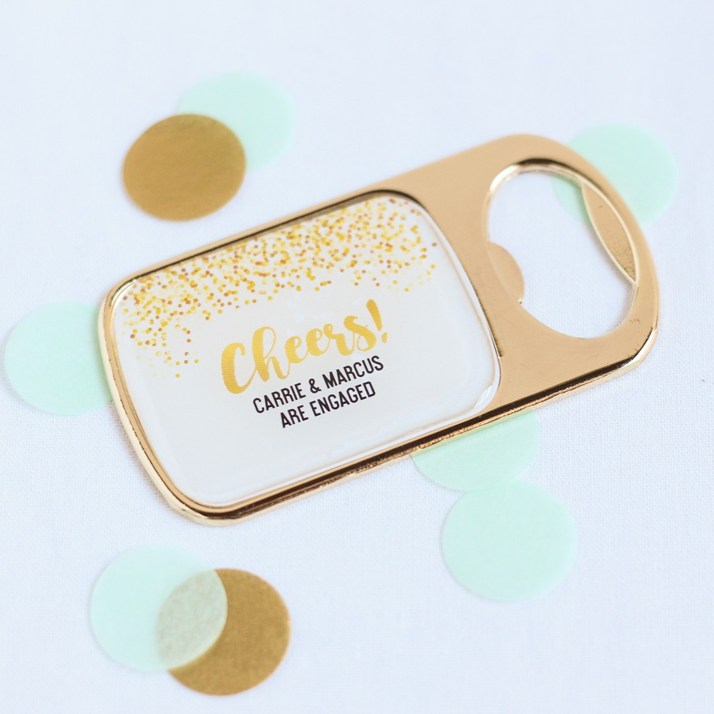 Personalized Cheers Bottle Opener with Epoxy