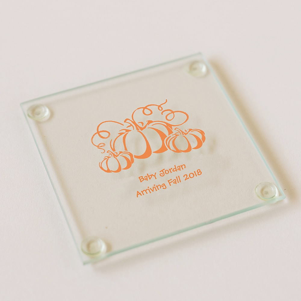 Personalized Pumpkin Glass Coaster