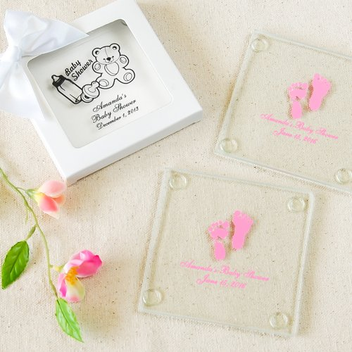 Personalized Baby Shower Glass Coaster 6666