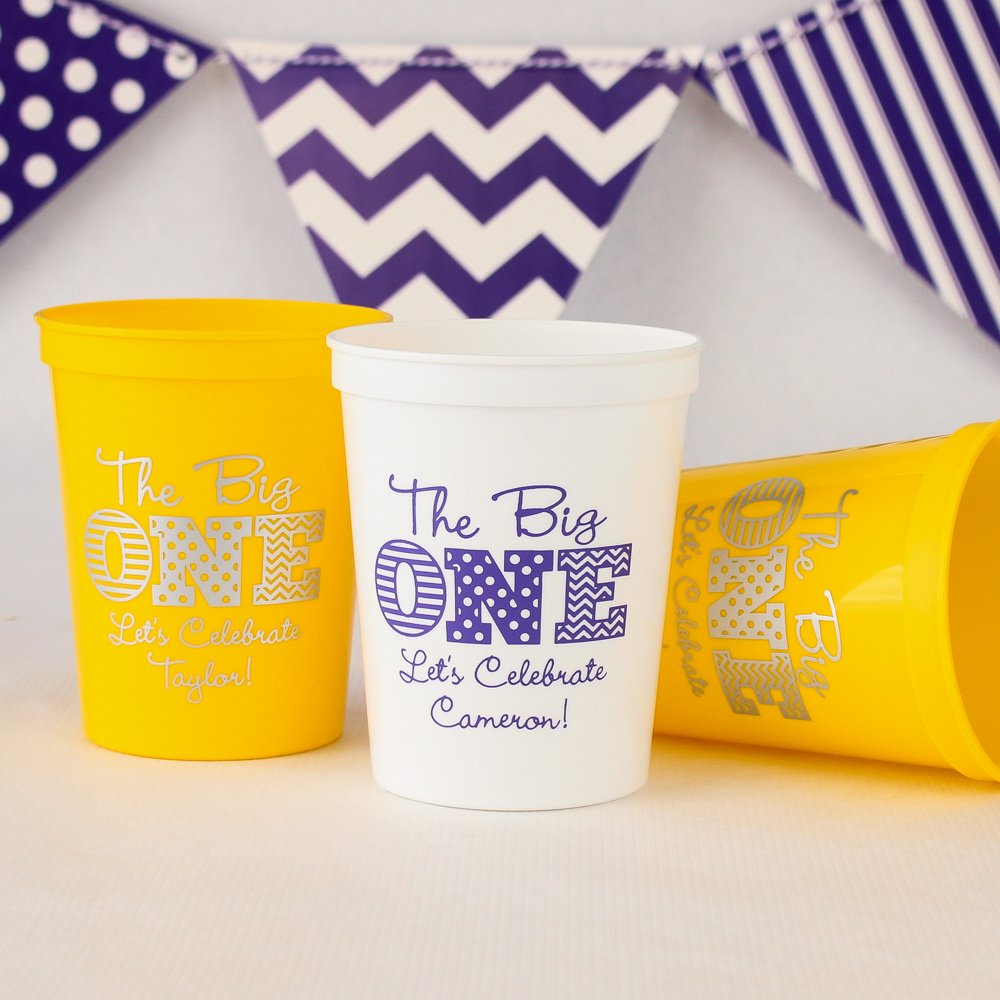 Personalized 1st Birthday Stadium Cups