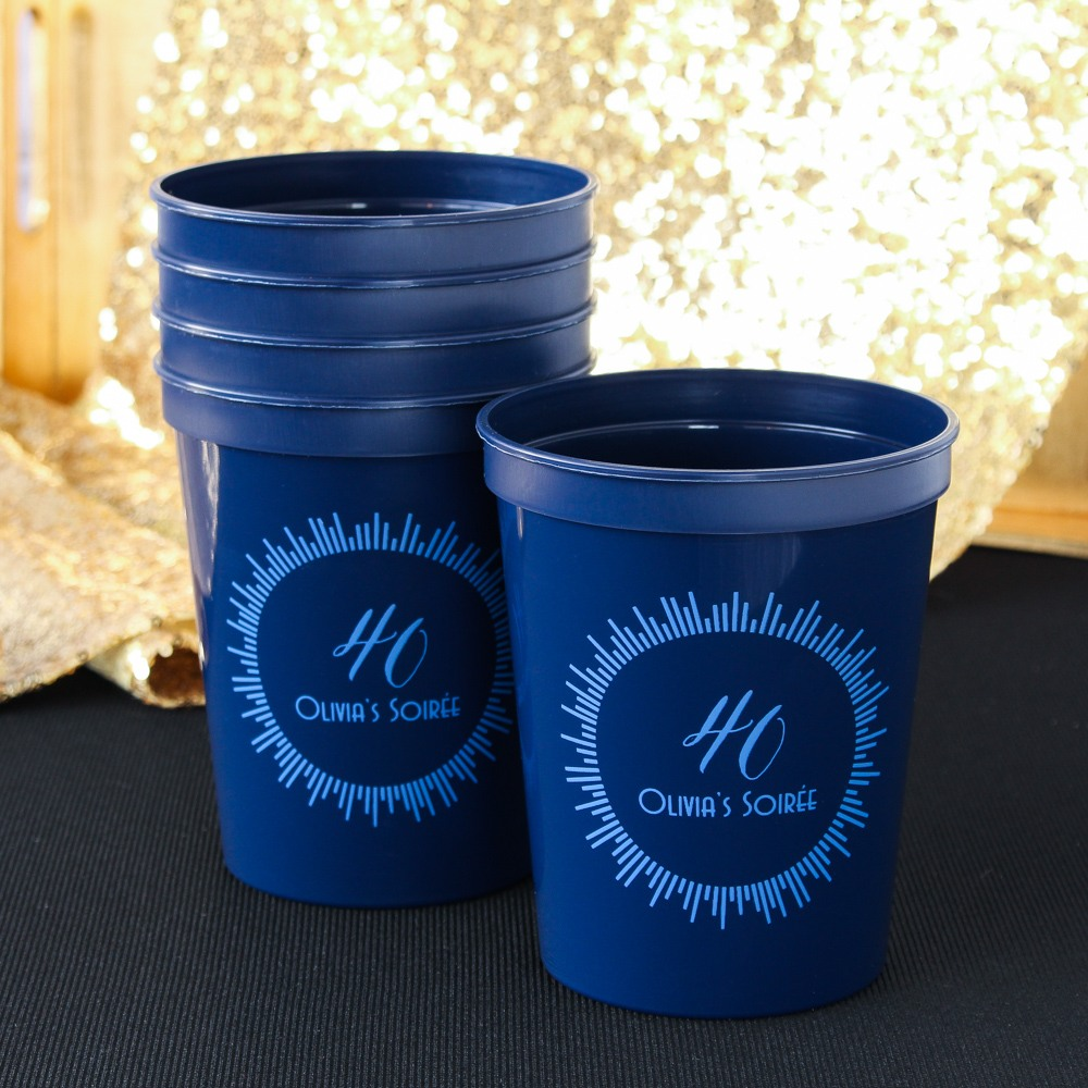 Personalized Milestone Birthday Stadium Cups