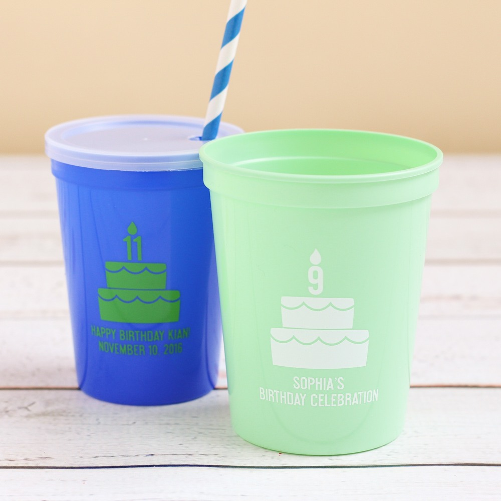 Personalized Birthday Cake Stadium Cups