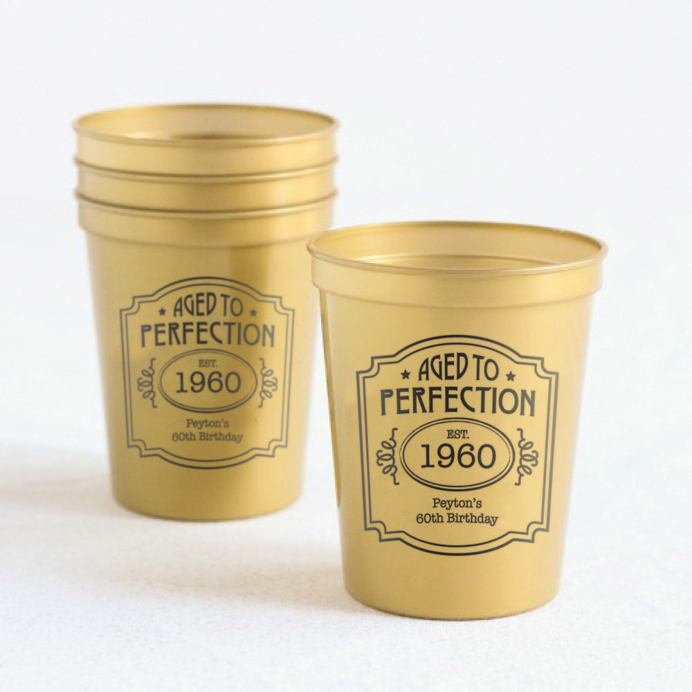 Personalized Aged to Perfection Stadium Cups