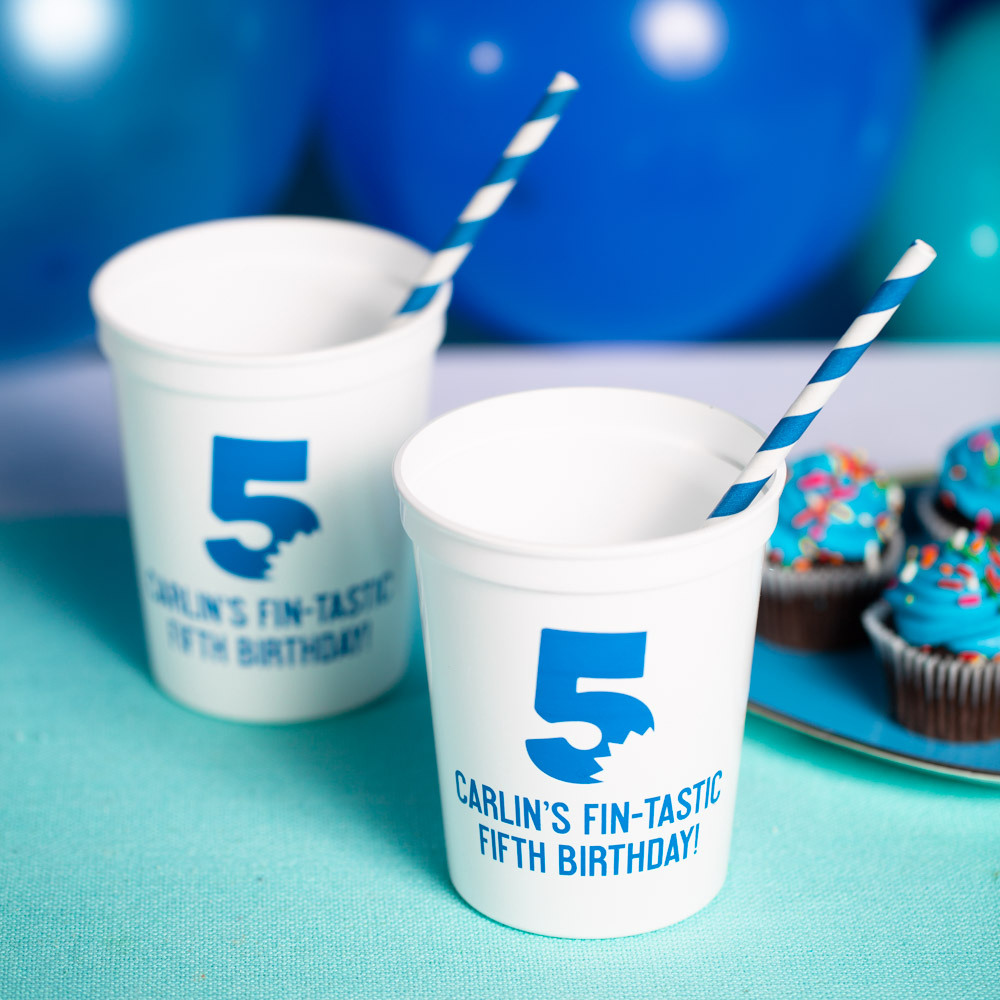 Personalized Shark Bite Birthday Stadium Cups