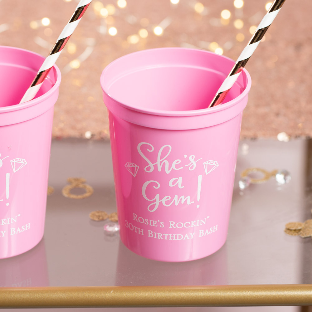 Personalized She's a Gem Birthday Stadium Cups