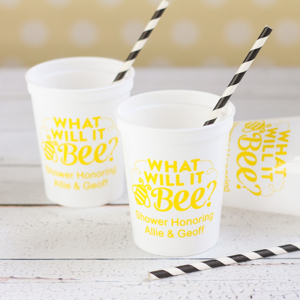 personalized bee reveal stadium cups