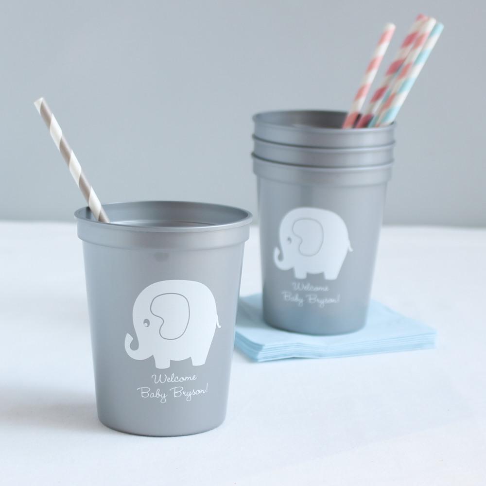 Personalized Elephant Baby Shower Stadium Cups