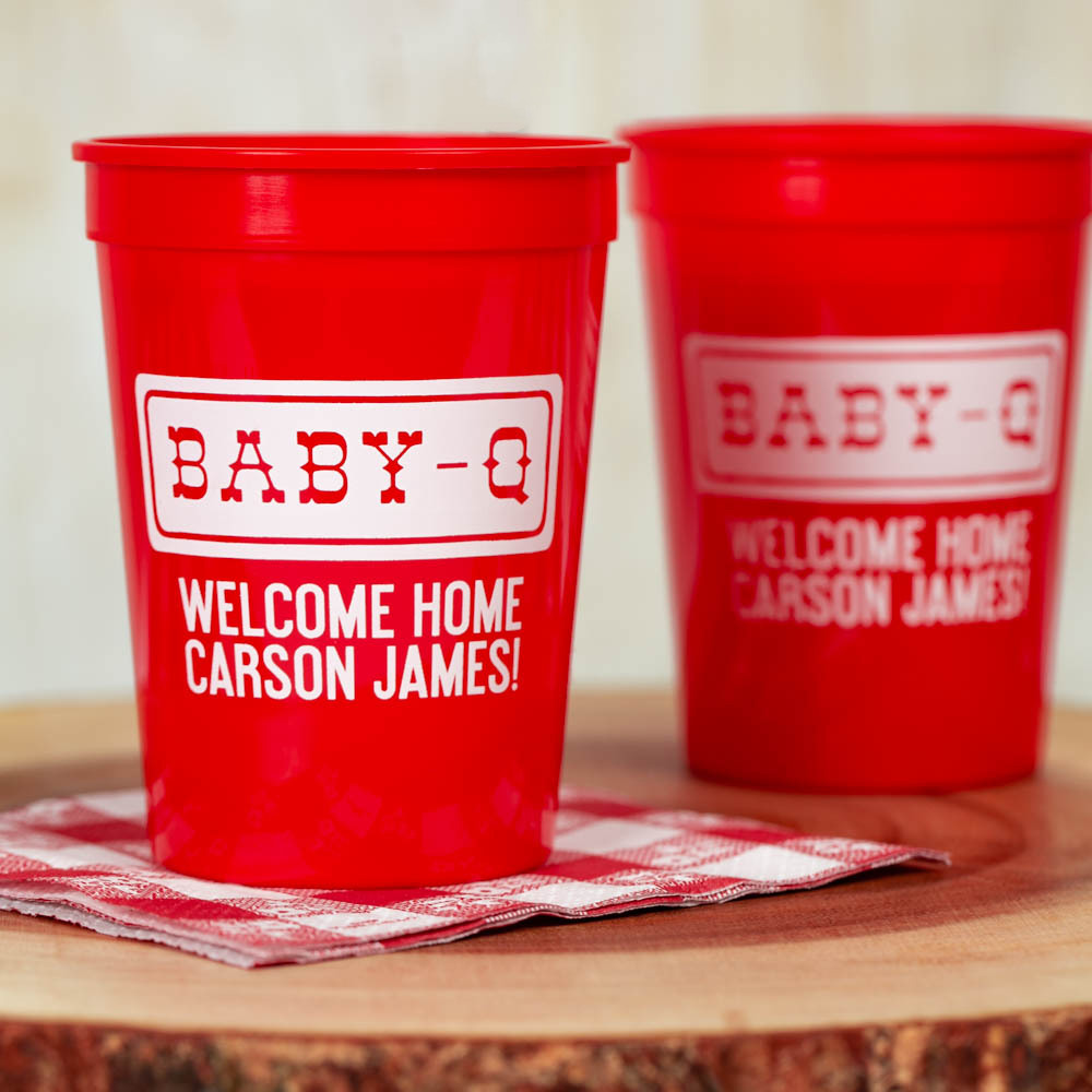Personalized Baby-q Baby Shower Stadium Cups