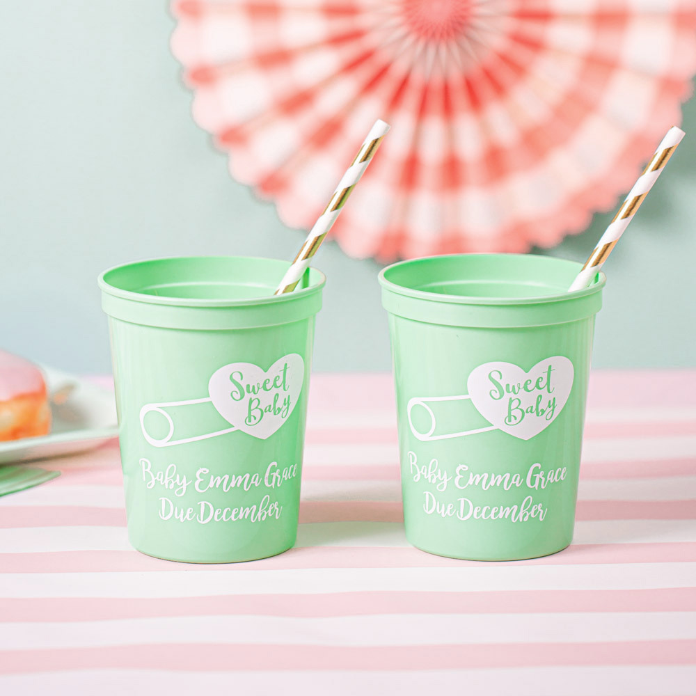 Personalized Sweet Baby Shower Stadium Cups