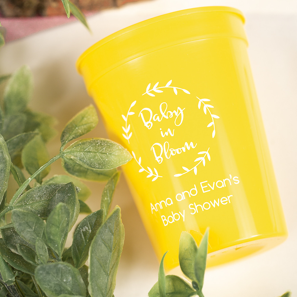 Personalized Baby in Bloom Baby Shower Stadium Cups