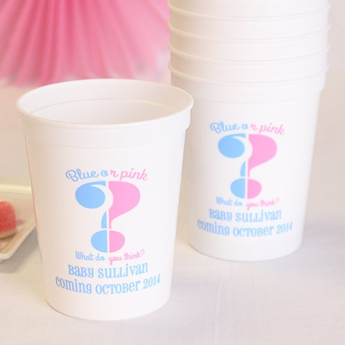 Personalized Gender Reveal Stadium Cups