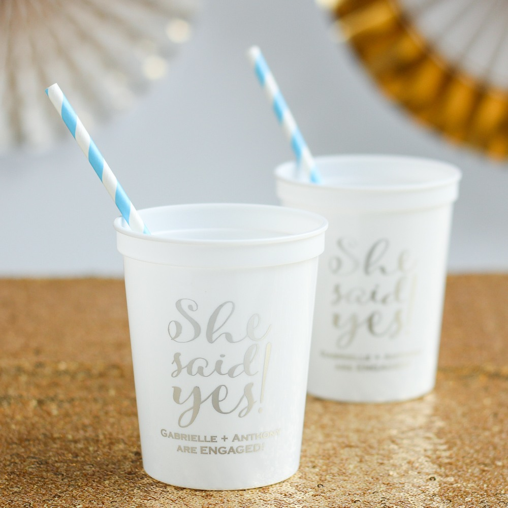 Personalized She Said Yes Stadium Cups